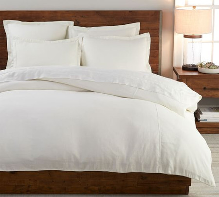 Belgian Flax Linen Duvet Cover & Shams Made with Libeco™ Linen - White