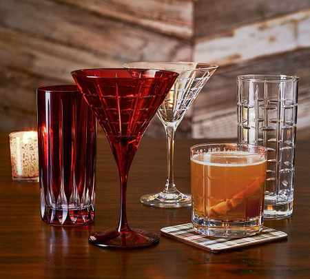 Library Hand-Cut Highball Glass - Red