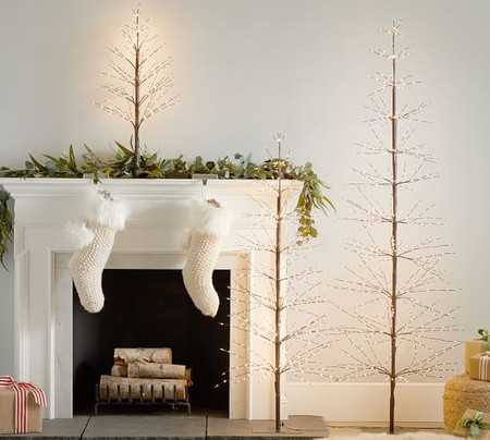 Pre-Lit Twinkling Twig Trees - Natural