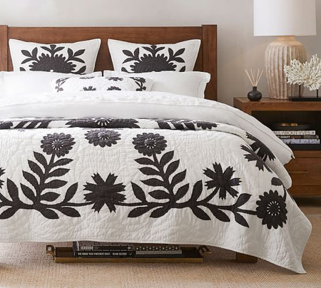 Lilo Handcrafted Cotton Quilt & Shams - Charcoal