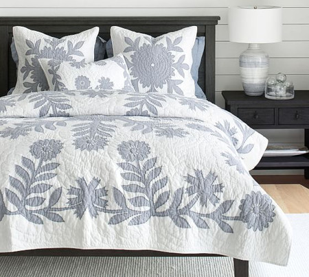 Lilo Handcrafted Cotton Quilt & Shams - Chambray