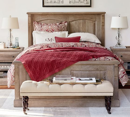Linden Wood Paneled Bed