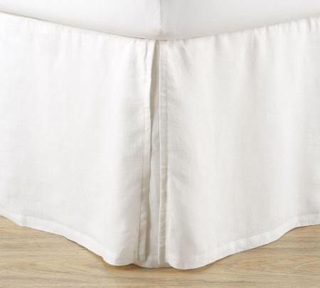 Belgian Flax Linen Bed Skirt with Side Pleats - White
