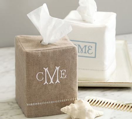 Linen Hemstitch Tissue Box Cover