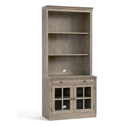 Livingston Bookcase With Glass Doors, Gray Wash