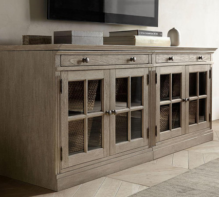 Livingston Small TV Stand With Glass Doors, Gray Wash