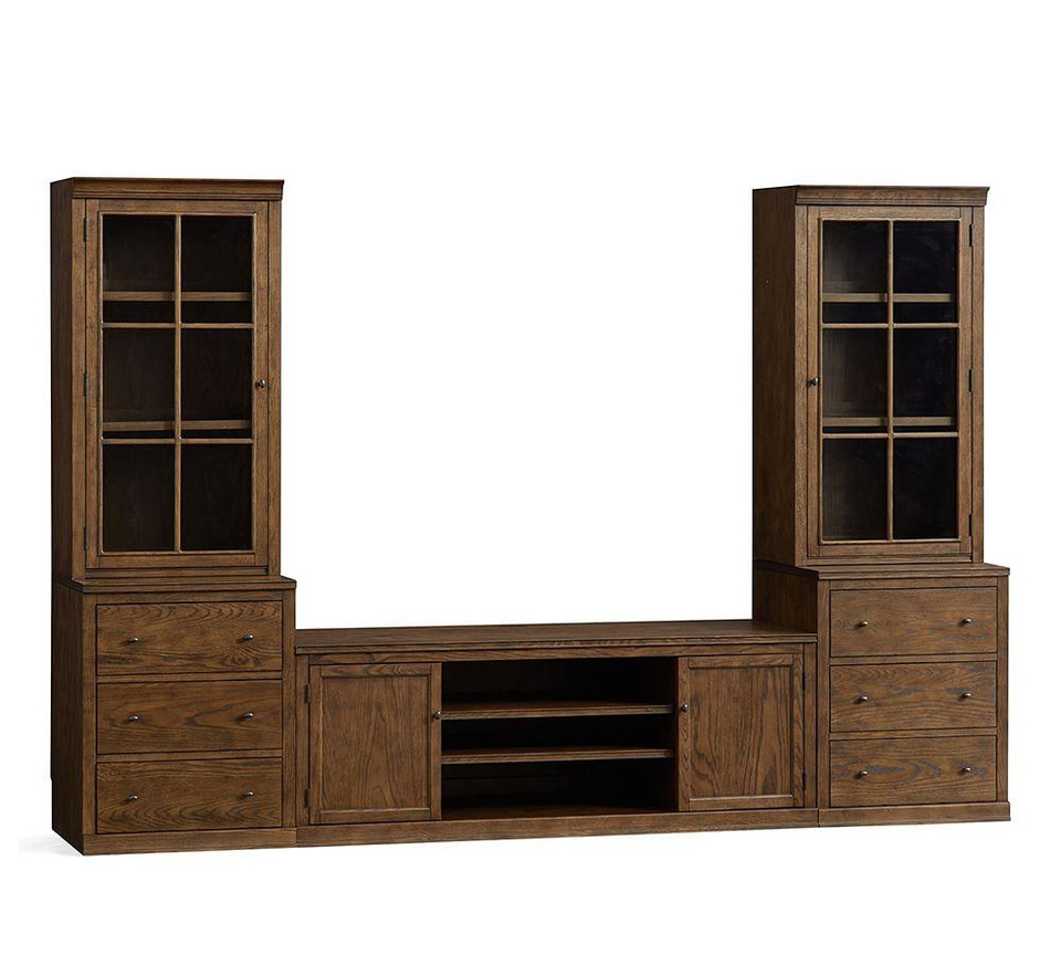 Logan Entertainment Center with Drawers & Glass Towers, Hewn Oak