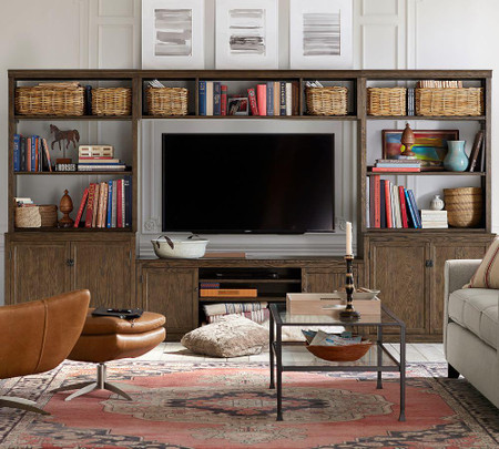 Logan Entertainment Center with Door Bookcase & Bridge, Hewn Oak