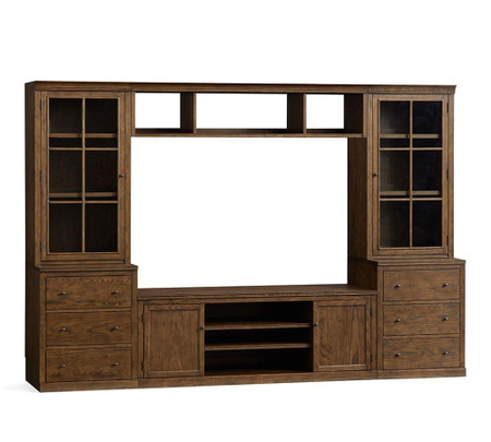 Logan Entertainment Center with Drawers and Glass Towers & Bridge, Hewn Oak