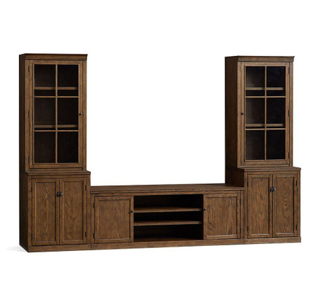 Logan Entertainment Center with Glass Towers, Hewn Oak