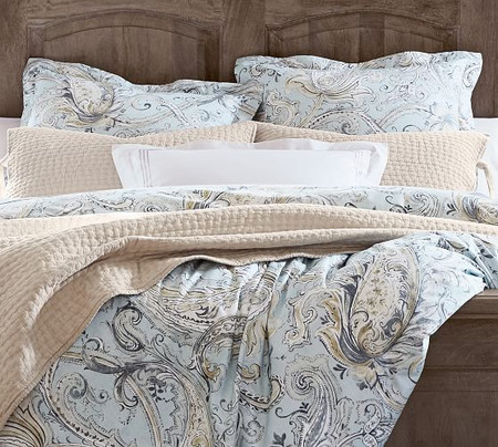 Mallorie Reversible Organic Percale Duvet Cover & Shams