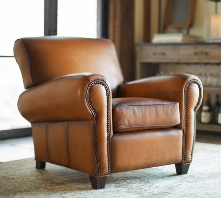 Manhattan Leather Armchair with Nailheads