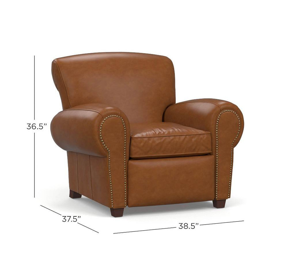Manhattan Leather Power Recliner with Nailheads