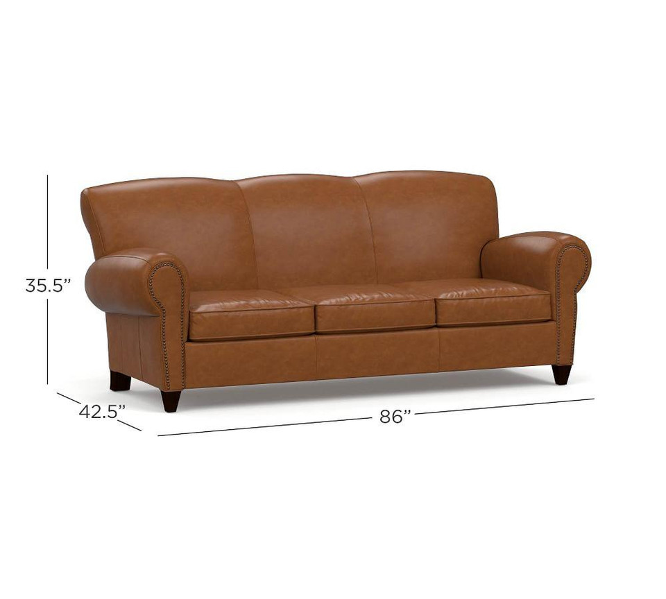 Manhattan Leather Sofa with Nailheads