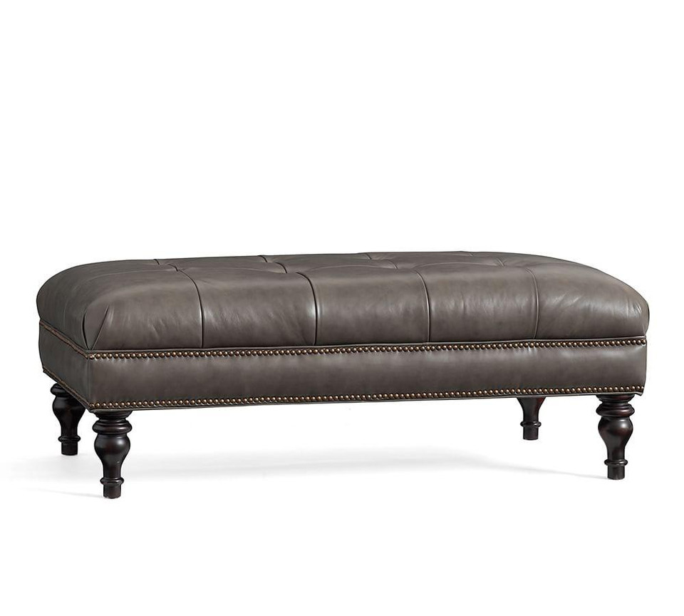 Martin Tufted Leather Ottoman Pottery Barn Canada