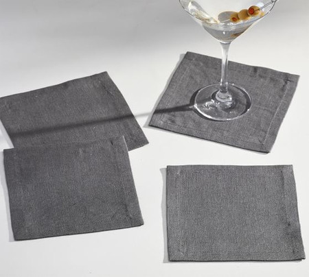 Mason Oversized Linen Coasters, Set of 4