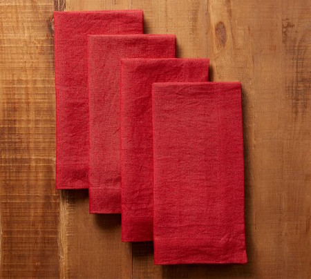Mason Oversized Linen Napkins - Red
