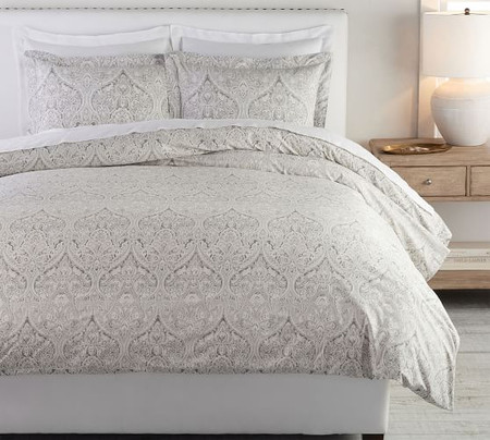 Mackenna Paisley Percale Duvet Cover & Shams - Taupe