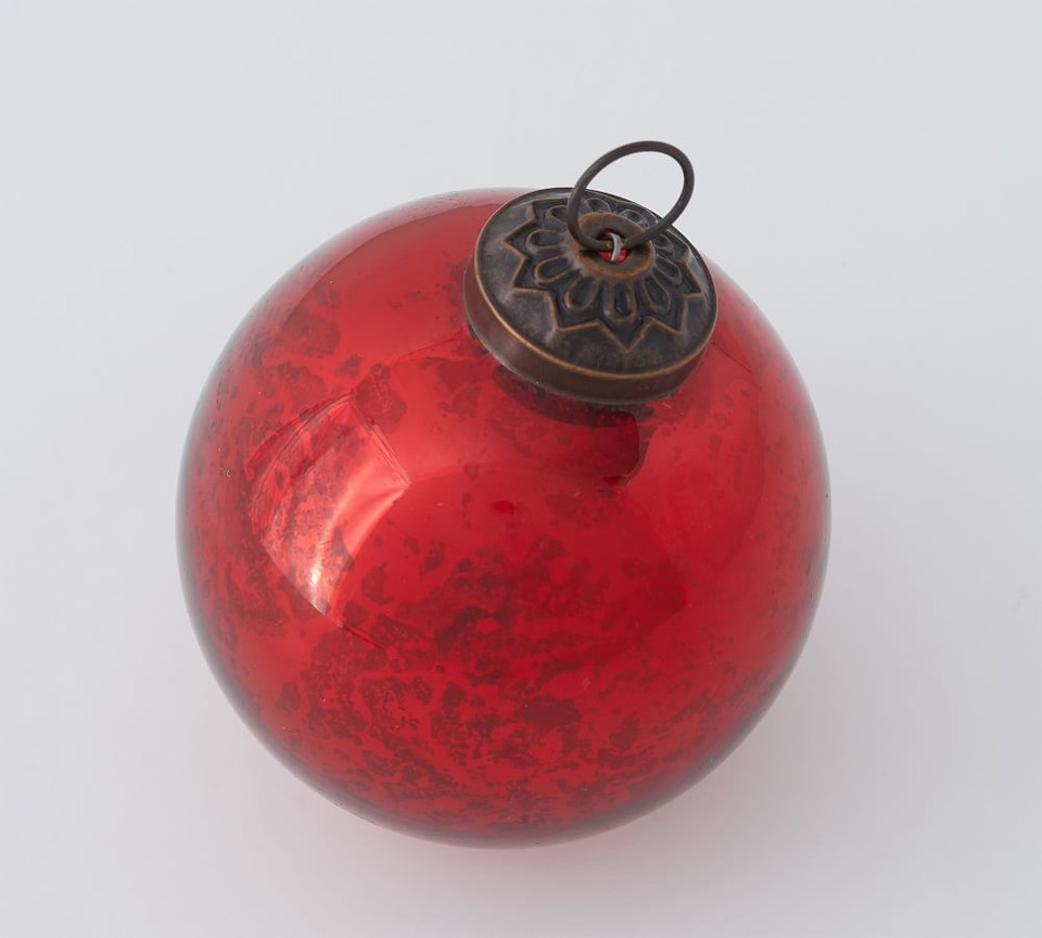 Red & Green Mercury Glass Ball Ornaments - Set of 6
