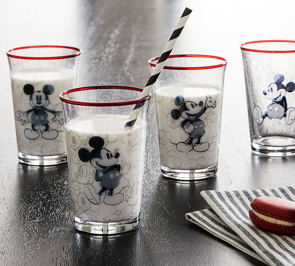 Disney Mickey Mouse Milk Glasses - Set of 4
