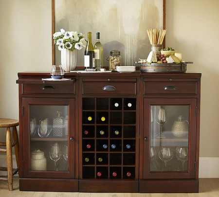 Modular Bar Buffet with 2 Glass Door Bases & 1 Wine Grid Base