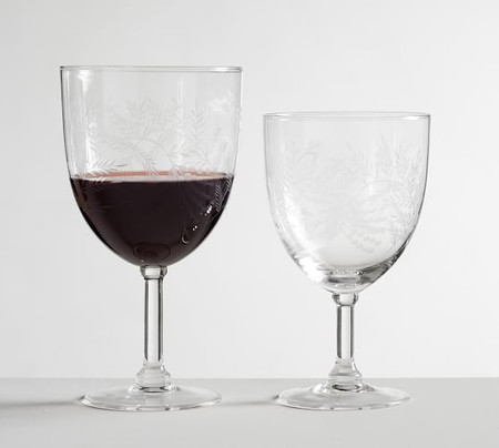 Monique Lhuillier Gabrielle Etched Wine Glasses