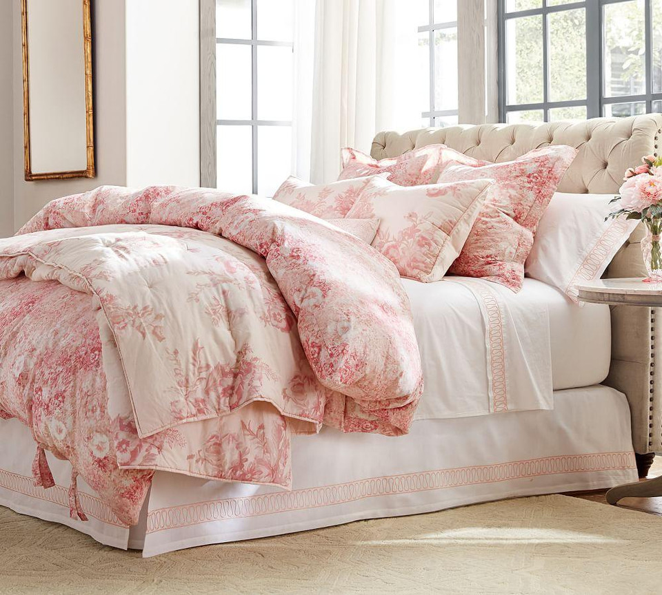 Monique Lhuillier Margaux Embroidered Organic Cotton Sheet Set - Blush
