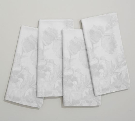 Monique Lhuillier Rose Bouquet Jacquard Napkins, Set of 4