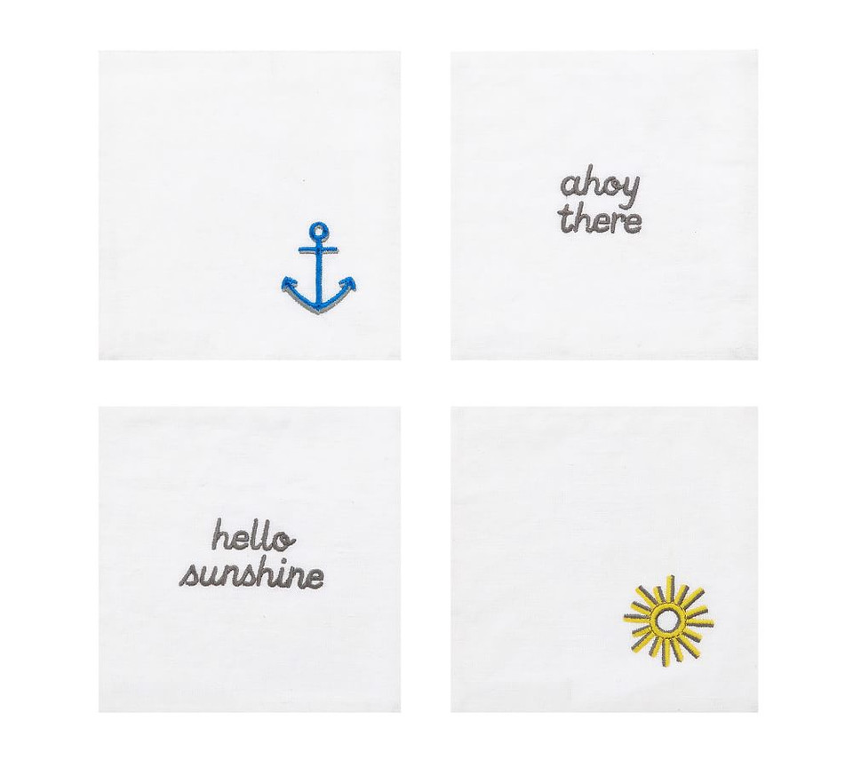Nautical Embroidered Linen Coasters, Set of 4 - Assorted