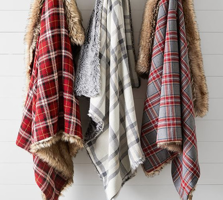 Nottingham Faux Fur Plaid Throws