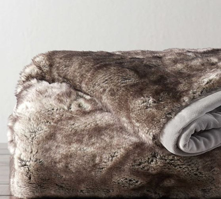 Faux Fur Ombre Tipped Throw
