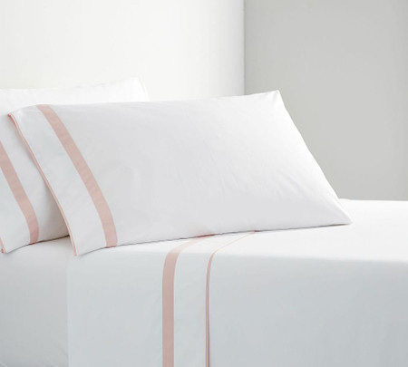 Morgan Banded 400-Thread-Count Organic Pillowcases - Soft Rose