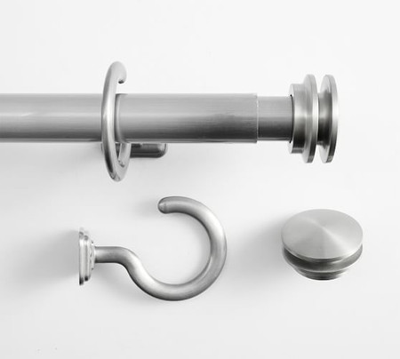 Outdoor Curtain Rod & Round Finial - Pewter finish