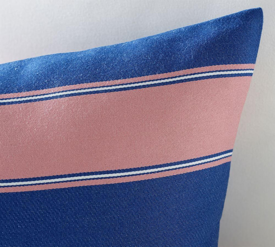Indoor/Outdoor Personalized Alessandra Striped Lumbar Pillow