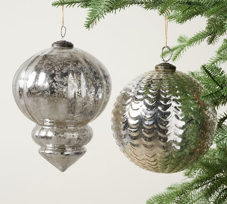 Oversized Mercury Glass Ornament Sets - Silver