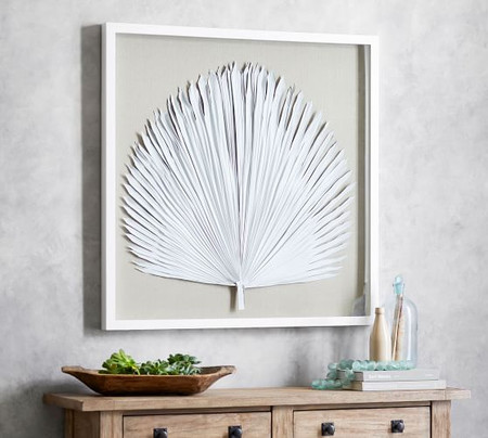 Palm Leaf Shadow Box Art - White