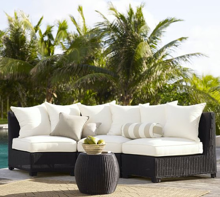 Palmetto All-Weather Wicker Rounded Armless Sectional Set, Black