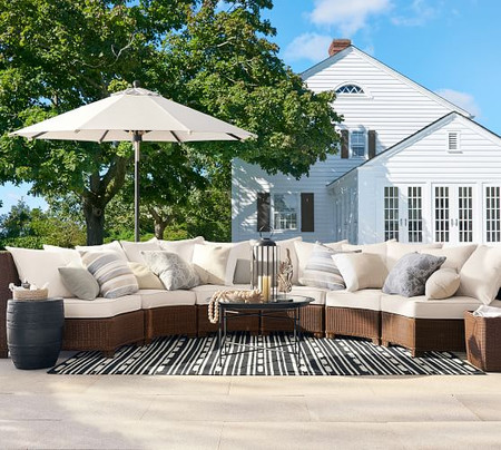 Palmetto All-Weather Wicker Rounded Armless Sectional Set, Honey