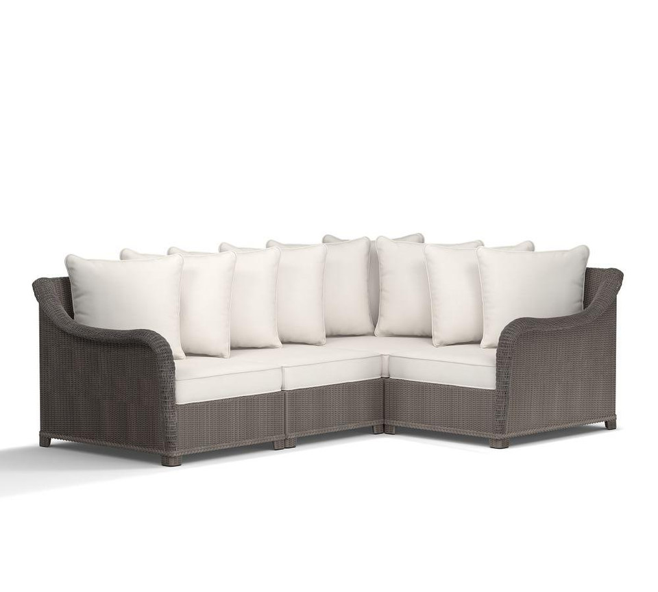 Palmetto All Weather Wicker Sectional Set Gray Pottery