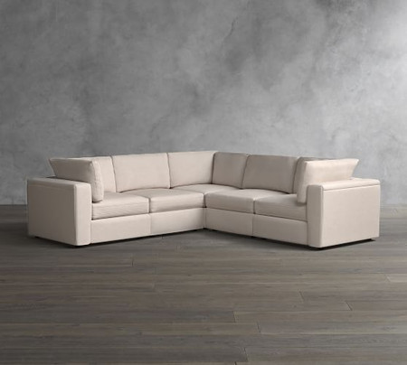 PB Air Square Arm Upholstered 5-Piece L-Shaped Sectional
