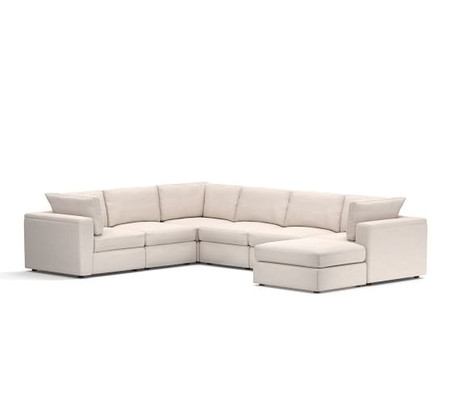 PB Air Square Arm Upholstered 7-Piece Reversible Sectional