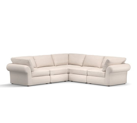 PB Air Roll Arm Upholstered 5-Piece L-Shaped Sectional