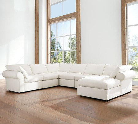 PB Air Roll Arm Upholstered 7-Piece Reversible Sectional