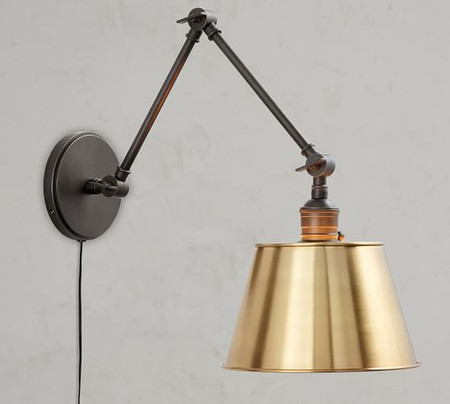 PB Classic Articulating Arm Sconce - Tapered Metal Shade