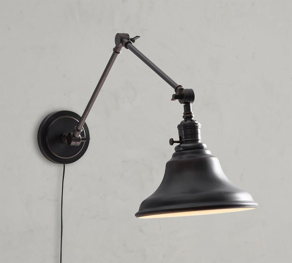 PB Classic Articulating Arm Sconce - Curved Metal Bell