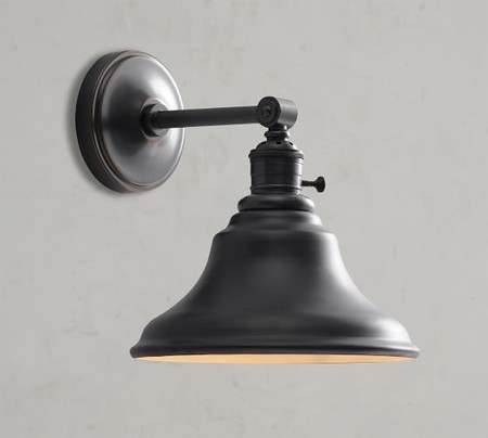 PB Classic Straight Arm Sconce - Curved Metal Bell