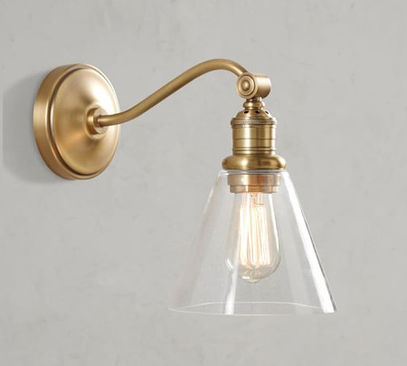 PB Classic Curved Arm Sconce - Flared Glass