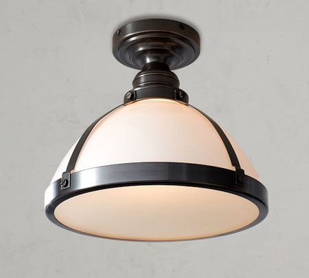 PB Classic Industrial Flush Mount - Milk Glass