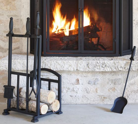 PB Classic Fireplace Log Holder/Tool Set