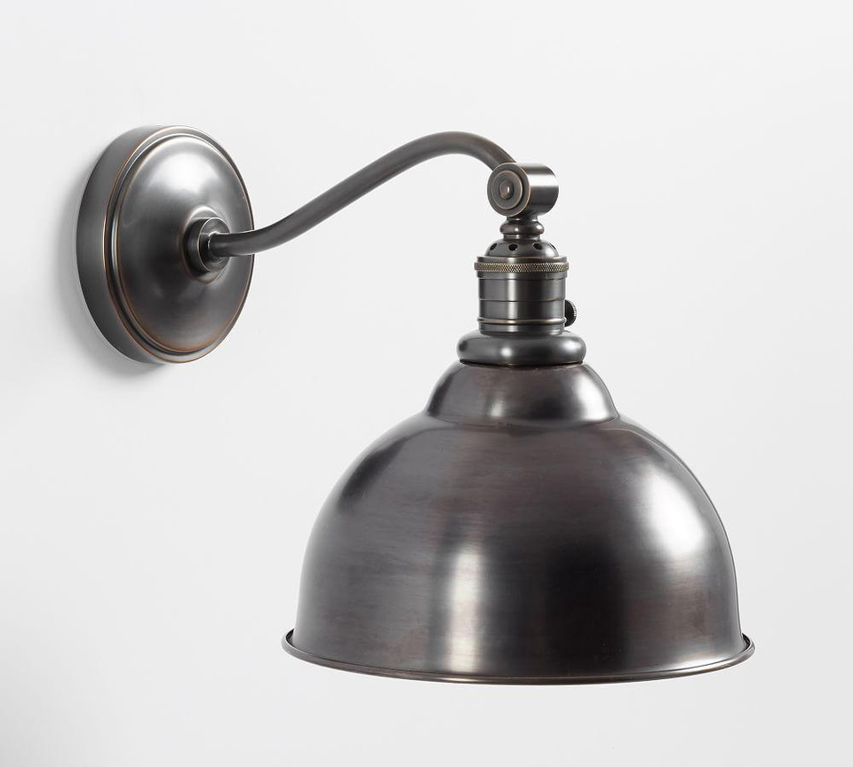 PB Classic Curved Arm Sconce - Curved Metal Bell